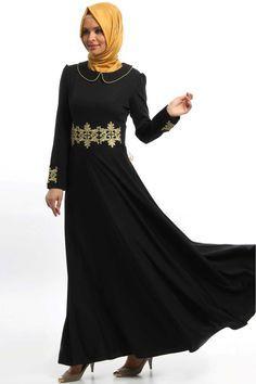 İpekdal - Dantel Detaylı Siyah Elbise