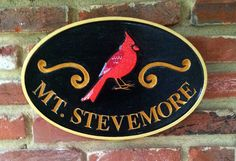 The Carving Company | Full Service Custom Carved Sign Shop | Last name sign with Cardinal (A21)