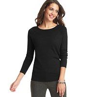 Ballet Neck Sweater - Done in a mix of must have hues, this simply soft staple – starring a ballet neckline for extraordinary flattery – is a winter wardrobe must. Long raglan sleeves. Ribbed neckline, cuffs and hem.