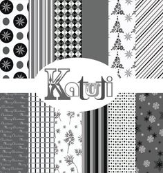 Christmas scrapbook paper in black white and grey by Katutidigital, $3.00