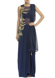 Navy blue suit adorn in cowl drape and embossed zari only on Kalki