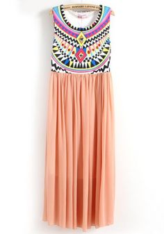 Pink Sleeveless Tribal Embroidery Pleated Dress