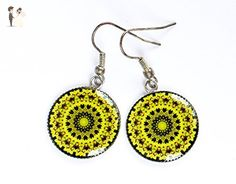 E12 Exlusive Silver plated Fashion Bright Yellow Green Pattern Photo Print Epoxy Resine Earrings Handmade Jewelry Gift for women Pattern design Unique dangle earrings - Wedding earings (*Amazon Partner-Link)