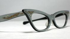 Vintage Cat Eye Glasses Silver and Gold by CollectableSpectacle