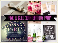 An Adorable Pink & Gold Glitter 30th Birthday Inspiration board featuring a Tiny Prints Invitation!