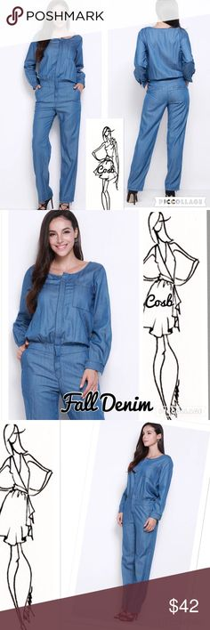 Sneak Peek.. Fall Denim Jumpsuit Fall denim jumpsuit. Jumpsuit has long sleeves, hidden buttons in the front & straight legs. Has two back & side pockets & elastic wide band waist. Rounded neckline & one breast pocket. Wear casually or add heels & jewelry  for night out! Cosb Pants Jumpsuits & Rompers