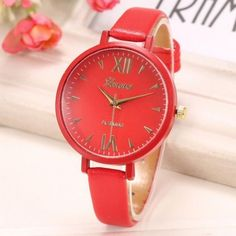 Fashion Women Thin Leather Belt Auartz Analog Wrist Watch