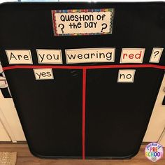 Loving my new Question the Day board! It's just a metal oil drip pan from Walmart. I painted it with black chalkboard paint. Quick and easy way to get students learning the minute they walk in the door. For preschool, pre-k, and kindergarten.