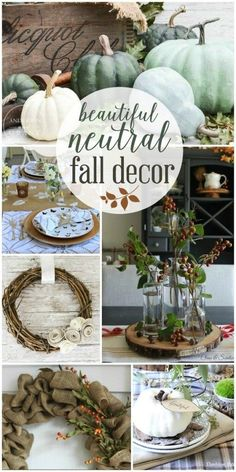 Absolutely Beautiful Neutral Fall Decor Inspiration at thehappyhousie.com