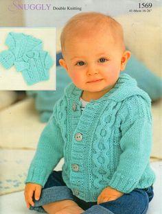 "baby childrens aran jackets sweater hat baby cardigan hooded jacket 16-26"" DK…"