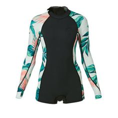 Billabong Wetsuits - Billabong Womens Spring Fever 2mm Back Zip Long Sleeve Shorty Wetsuit - Tropical