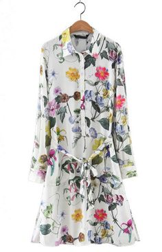 Claire, Sweet Floral Long Shirt Dress