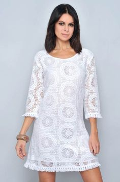 Vestido manga larga algodon - h.g - venta al por mayor White Dresses For Women, Little White Dresses, White Outfits, Casual Dresses, Short Dresses, Casual Outfits, Fashion Dresses, Summer Dresses, Mode Outfits