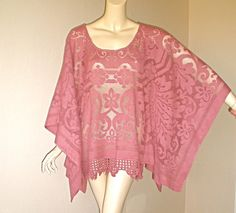 Moroccan LACE Caftan Dress Crochet Fringe PONCHO by MuseClothing, $76.00