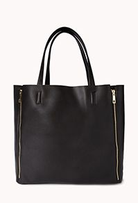 Sleek Faux Leather Zipper Tote. Only $24.80 at forever 21!