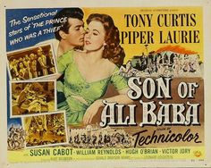SON OF ALI BABA (1953) - Tony Curtis - Piper Laurie - Susan Cabot - William Reynolds - Hugh O'Brian - Victor Jory - Directed by Kurt Neumann - Universal-International - Movie Poster.
