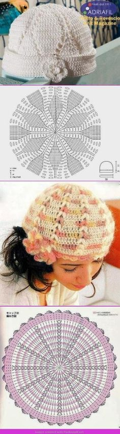 Crochet Patterns Hat Simple charts for crochet hats Bonnet Crochet, Crochet Headband Pattern, Crochet Cap, Crochet Baby Shoes, Crochet Diagram, Crochet Beanie, Diy Crochet, Crochet Clothes, Crochet Stitches