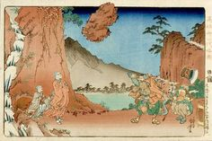 """""""Title: At Komuroyama on July 4, 1274 (Bun'ei juichi go gatsu nijuhachi nichi Komuroyama chushi ishi, 小村山法輪石)  Scene: Nichiren keeping a rock thrown at him suspended in the air""""  Nichiren did not levitate rocks, but he did teach his followers how to overcome obstacles. Here we see the kind of miracle working typical of idealized religious leaders in all faiths."""