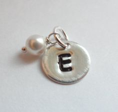 Sterling Silver INITIAL Charm and Pearl  by weddingbellsdesigns