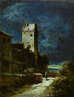Carl Spitzweg - Nächtliche Landschaft mit Nachtwächter