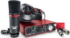 Bundle compuesto de un microfono condensador CM-25 con soporte y cable de micro + auricular HP60 + Interface Scarlett 2i2 2nd: Interfaz de audio USB-2 24bit/192KHz, 2IN/2OUT, con 2 IN analogico balanceados micro/line/instr asignables con phantom (XLR-JACK combo) y control de ganancia independiente, 2 Salidas L/R con JACK TRS, toma auriculares con control de volumen. Control de ganancia monitor OUT. Alimentacion por USB, Incluye cable USB y descarga gratuita de Ableton...