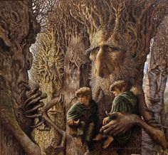LOTR - Pippin, Merry, Treebeard and Ents in the Forest of Fangorn. Stephen Hickman.(good)