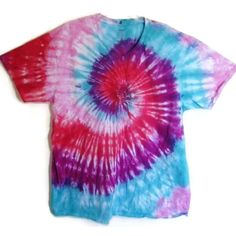 Tie Dye T-Shirt Top Girly Pink Purple Spiral 100 Cotton Womens Shirt... ($20) ❤ liked on Polyvore featuring tops, t-shirts, tees, shirts, black, women's clothing, tee-shirt, pink shirts, t shirt and cotton shirts