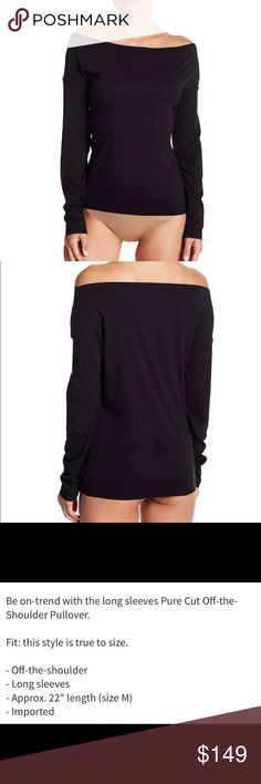 WOLFORD – Pure Cut Off-the-Shoulder Pullover BLK M WOLFORD – Pure Cut Off-the-Shoulder Pullover BLACK  Size-Medium NWT and In Box but I opened the box and took the shirt out to take photos to post Wolford Tops