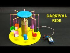 Carnival ride model is a simple science project for school students who are interested in science experiments which can be done at home are classroom or any . Physics Projects, School Science Projects, Robotics Projects, Science Projects For Kids, Science Experiments Kids, Craft Activities For Kids, Diy Crafts For Kids, Diy Carnival, Carnival Rides