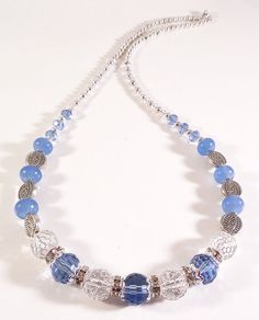 Blue bling crystal handmade beaded necklace by DaisysJewelry, $22.00