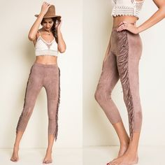 """""""Walk Free"""" Fringe Suede Pants These legging-like suede pants are a must-have for a super cool, stylish and unique boho look! Features trendy fringe style and suede fabric. LOVE the free & earthy design! • Also available in Black. • Fabric: polyester and spandex • Inseam 23"""" for Medium. True to size. • BUNDLE & SAVE 10%! Wild Dreams Pants"""