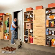 entry doors from attached garages and mud rooms seem to attract clutter. these storage projects are designed to solve that problem, with special shelves, cabinets and drawers for toys, sports gear, shoes, boots, and all the other stuff that piles up by a heavily used entryway.