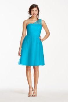 Extra Length Short One Shoulder Tulle Bridesmaid Dress - Malibu (Blue), 16
