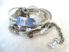Dog Lover's Hand Stamped Leather Multi Wrap Bracelet  by AllStrungOut925