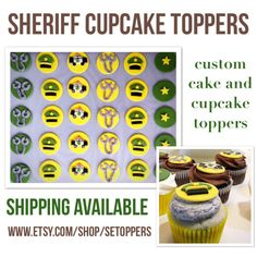 12 fondant sheriff cupcake toppers custom sheriff by SEtoppers