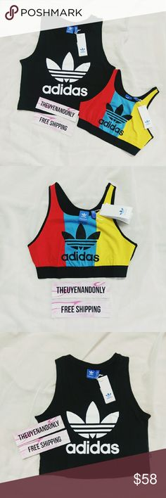 (Bundle of 2) Adidas Crop Tops All NWT and New In Bag You will get 1 Tank Top Sport Bras and 1 Crop Tank Top (as in 1st picture)  NWT - Not Accepting Offer NO TRADE I can do FREESHIP - please comment Adidas Tops Crop Tops