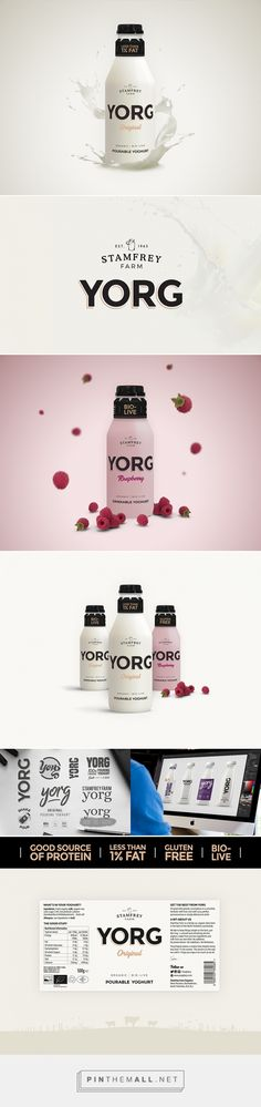 YORG yoghurt by Tom Dent and Lilly Parr. Source: Daily Package Design Inspiration. Pin curated by #SFields99 #packaging #design #inspiration #ideas #innovation #range #creative #product #food #fmcg #dairy #yoghurt #bottle #drink #nutrition #label #typography #color