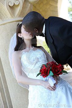 Interracial Wedding Beautiful | Interracial Wedding Couple Kissing Royalty Free Stock Photo - Image ...