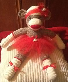 Sock Monkey in Crimson Tutu made with vintage by Sillysockmonkeys, $45.00