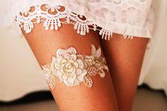 Gold Ivory Lace Bridal Garter  Wedding Garters  by NAFEstudio