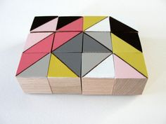 Art Block Magnets  12 Hand Painted Geometric Wood by CarrieBuller