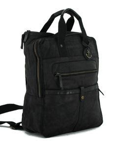 Laptop Rucksack, Vintage Stil, Rind, Hook And Loop Fastener, Leather, Black