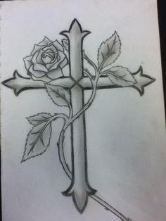 Trends 125 Ideas Choosing Temp Tattoo of Roses , Wooden Cross Tattoos, Celtic Cross Tattoos, Cross Tattoos For Women, Tattoos For Guys, Rose Vine Tattoos, Star Tattoos, Body Art Tattoos, Tatoos, Cross Tattoo Designs