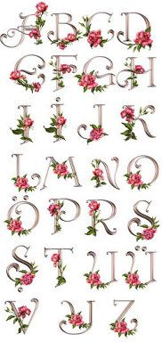 FLORES Y LETRAS PARA DECOUPAGE                                                                                                                                                                                 Más Embroidery Alphabet, Embroidery Fonts, Ribbon Embroidery, Machine Embroidery Designs, Hand Lettering Alphabet, Alphabet Art, Cross Stitch Alphabet, Decoupage, Monogram Letters