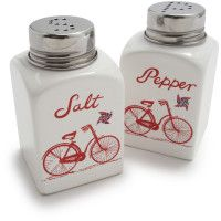 Vintage bicycle salt and pepper shakers