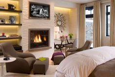 Befroom design with fireplaces by Kalacris Design