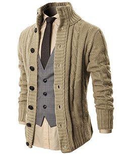 8da2557450eaa H2H Mens Casual Long Sleeve Twisted Knitted Thermal Cardi... https