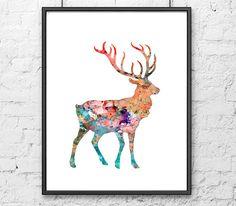 Watercolor painting deer - Watercolor art print - Wall art