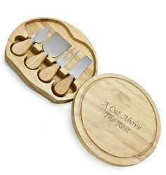 """Size:1-1/2""""H x 8""""W Rubberwood, Stainless Steel Swivel-style circular chopping board, hard cheese knife, cheese shaver, cheese fork, cheese spreader. Large 8"""" diameter cutting surface. Made of naturally durable, eco-friendly rubberwood. All tools conveniently stored in the slide-open case. Easy to clean"""