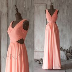 2016 Coral Bridesmaid dress, Open Back V Neck Wedding dress, Deep V neck Prom dress, Long Formal dress, Party dress floor length (F125) by RenzRags on Etsy https://www.etsy.com/listing/221256259/2016-coral-bridesmaid-dress-open-back-v